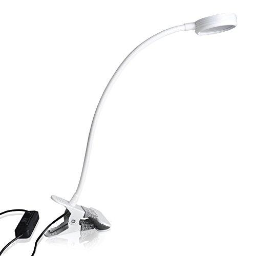Eplze Simple& Exquisito Soin des Yeux Lampe de Bureau LED Dimmable 2 Niveaux de Luminosité avec Interrupteur Clip On Livre de Lecture de Lumière Plug and Play (blanc)