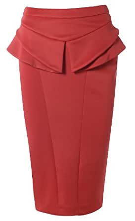 WOMENS PLAIN PEPLUM FLARE PENCIL SKIRT BLACK OR RED 8-16 AVAILABLE (8, Red)