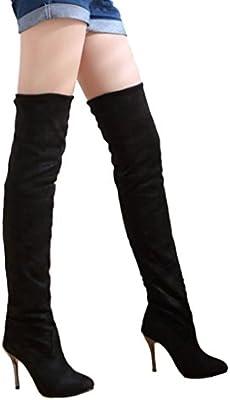 Minetom Mujer Otoño Invierno Botas Biker Color Sólido Botas Largas Tacón Alto Zapatos Estiramiento Rodilla Botas