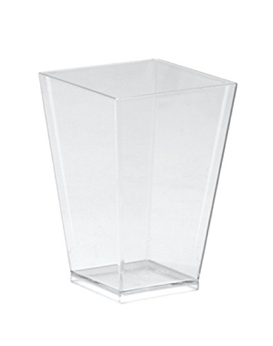WNA Petites 40 Count Tall Square Plastic Tasting Glasses, 3.5 oz, Clear