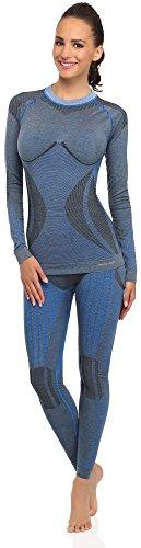 Merry Style Damen Funktionsunterwäsche Set lange Unterhose plus langarm Shirt thermoaktiv 60w10w20 Blau