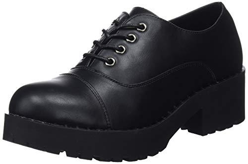 COOLWAY Choco, Zapatos Cordones Oxford Mujer, Negro