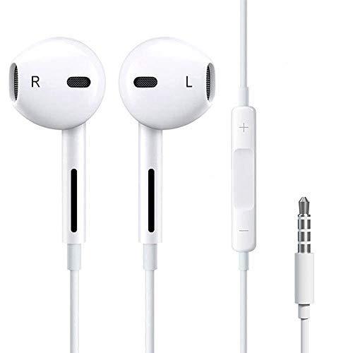 Luvfun Audio In Ear Kopfhörer, Wasserdicht Sport Kopfhörer mit Mikrofon, Stereo Bass Technologie Kopfhörer 3,5 mm Klinkenstecker - Weiß