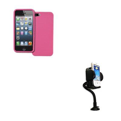 Empire Apple iPhone 5 Light Pink Rosa Case Étui Coque Textured Poly Skin + Voiture Dashboard Mont