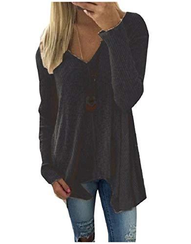CuteRose Women's V-Neck Plus-Size Asymmetrical Pure Colour Blouse T-Shirt Black L -