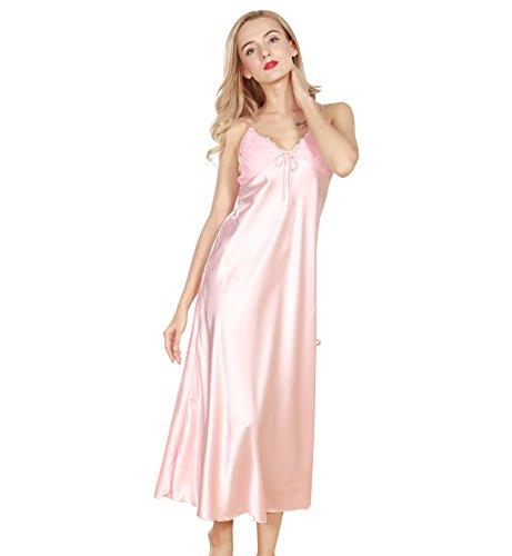 Surenow Damen V Hals Satin Lang Nachtkleid Nachtwäsche Rosa