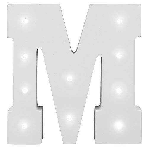 Dekorative leuchtende Buchstaben,KINGCOO Lampe batteriebetrieben hölzerne Alphabet uchstaben Zeichen Lichter,Party Hochzeit Dekorationen,Dein Name in Lichter - weiß (M)
