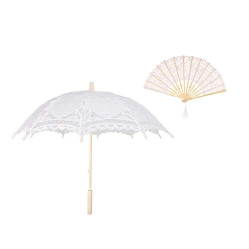 D DOLITY Éventail Parasol Délicat Floral en Dentelles Bambou Grand Cadeau Fête de Mariage