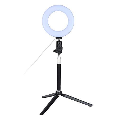 Fülllicht, 6-Zoll-Ringlicht Dimmbares LED-Fülllicht mit Standfuß 3-Farben 360 Rotary USB-betriebenes Streaming-Licht für Video Live Camera Makeup -