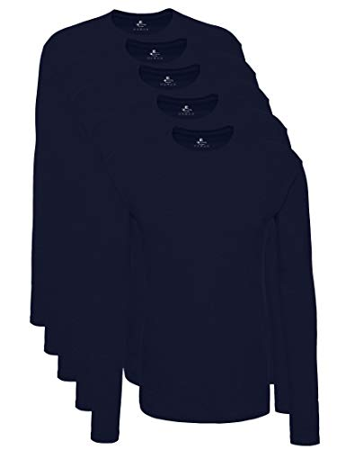 Lower East Camiseta de manga larga Hombre, Pack de 5, Azul, 2XL