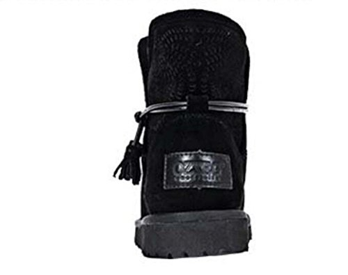 Botas Huecas Botas De Lana De Cuero Grueso Botas De Nieve De Las Mujeres De Invierno Corto Negro