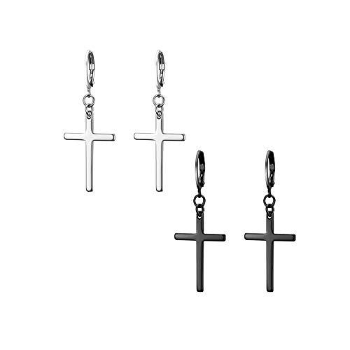 JewelryWe Pendientes largos acero inoxidable forma