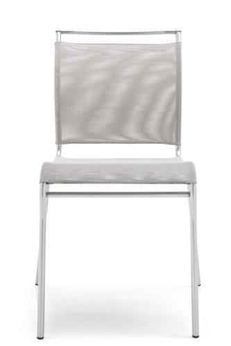 Calligaris Air Gepolsterte Sitzfläche Gepolsterte Rückenlehne Stuhl von Restaurant und Esszimmer-Esszimmerstuhl, Restaurant und Esszimmer (Sitz gepolstert, Polyester, PVC, grau, gepolsterte Rückenlehne, Polyester, Vinylchlorid (PVC), grau)