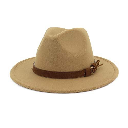 hut mit breiter Krempe, für Herren und Damen, Panama, Trilby-Hut mit Band - Braun - L (Kopfumfang 58/60 cm) ()