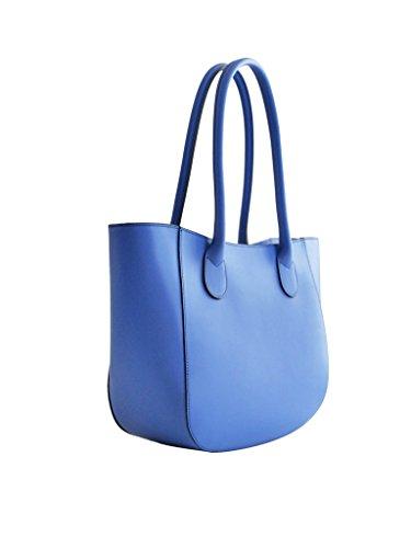 Borsa a spalla in vera pelle liscia, prodotto italiano autentico ed originale, misura grande, spaziosa e comoda Blue jeans chiaro