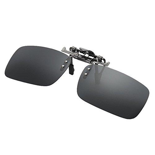 jgashf Brillen-Etui FüR Herren Und Damen Sonnenbrillen-Clip Polarisiert Auf Flip Up, Uv Schutz GläSer,Fahren/Fischerei/Sport/Night Vision Eyewear (Grau)