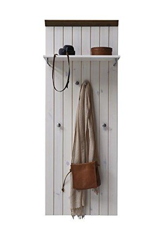 garderobe home affaire Steens Monaco Garderobenpaneel, 52 x 144 x 7 cm (B/H/T), Kiefer massiv, weiß grau
