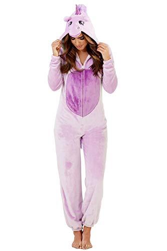 Femmes Licorne Combinaison Pyjama Pour Femmes 3D Oreilles Klaxon & Queue Tout En Un Vêtement de loisirs - violet licorne, Taille L - EU 44-46