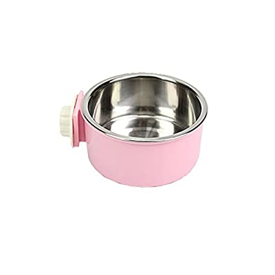CreaTion® Removable Stainless Steel Hanging Bowl Cat Bowl Dog Water Bowl Birds Food Bowl with Bolt Holder (Pink)