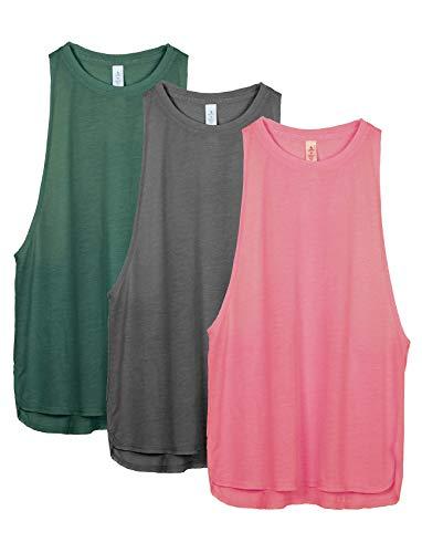 icyzone Sueltas y Ocio Camiseta sin Mangas Camiseta de Fitness Deportiva de Tirantes para Mujer(Paquete de 3) (S, Ejercito Verde/Carboncillo/Rosado)