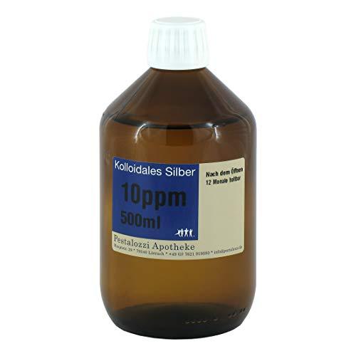 Kolloidales Silber 10ppm, 100% natürliches, kolloidales Silberwasser, ohne chemische Zusatzstoffe aus Apotheken-Herstellung, Inhalt: 500 ml -