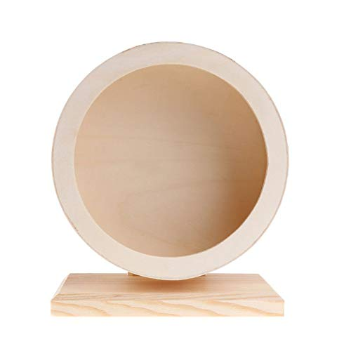 Roue d'exercice en bois pour hamster - En bois naturel silencieux - Roue rotative faite à la main - Jouets de jeu pour petits animaux de compagnie, Degus Gerbils, Chinchillas, hérissons et souris