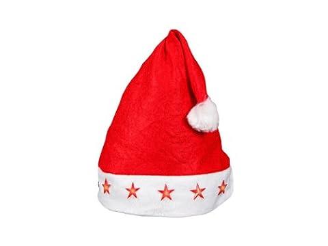 Bonnet de Noël pour enfant / Ados (wm-14) lumineux avec 4 étoiles à LED clignotante lux très classe pas cher ALSINO bouton on/off, en feutrine très doux rouge et bordure pompons blanc l'accessoire festif idéal pour les fêtes de fin d'année pour se déguiser ou marquer l'événement pour noel cadeau original sympa pour mettre l'ambiance , Mütze wählen:wm-14 Kinder LED