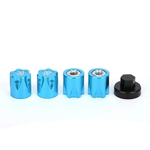 Furnoor 4 Stücke Radmitte Kappe, M 4 Mutter Radnabe Kappe Mittelabdeckung RC Zubehör Fit für SCX 10 90046 D90 RC Auto(Blau)
