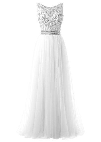 Callmelady Col Haut Tulle 2017 Robe de Soirée Longue Femme Fête Party Blanc