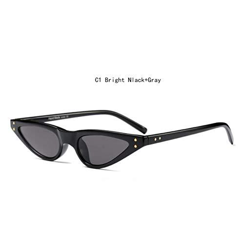 HYUHYU Cat Eye Vintage Sonnenbrille Weibliche Shades Für Frauen Retro Schmale Brille Damen Kleine Dreieckige Sonnenbrille Rot