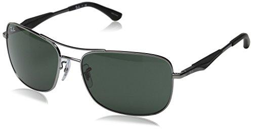 Ray-Ban Unisex Sonnenbrille Rb 3515 Grau (Gestell: Gunmetal, Gläser: Grün Klassisch 004/71)), X-Large (Herstellergröße: 61)