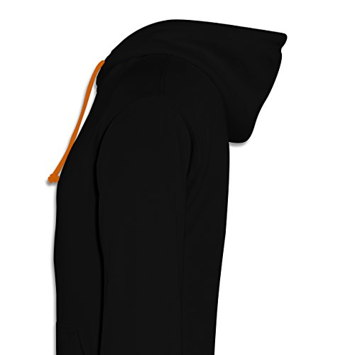 Partner-Look Pärchen Herren - Pizza Pärchenmotiv Teil 1 - Kontrast Hoodie Schwarz/Orange