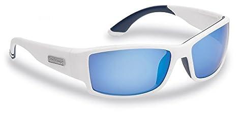 Flying Fisherman Razor Polarized Sunglasses, Matte White Frame, Smoke-Blue Mirror Lenses