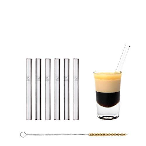 Halm Glas Strohhalme Wiederverwendbar Trinkhalm - 6 Stück kurz gerade 10 cm + plastikfreie Reinigungsbürste - Spülmaschinenfest - Nachhaltig - Glastrinkhalme Glasstrohhalme für Shot-Gläser -