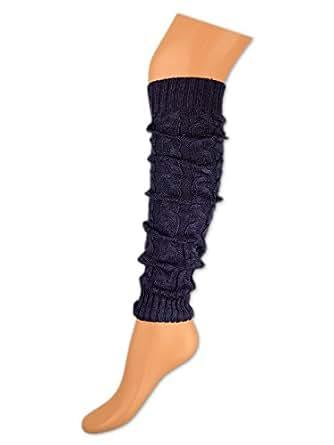 1 oder 2 Paar Damen Stulpen Beinstulpen Lila Strick Design - 17781 - sockenkauf24 (1 Paar - Lila (Dunkel))
