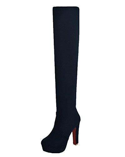Minetom donna inverno sexy moda scamosciato sopra il ginocchio stivali tacco alto stivali alti nero eu 41