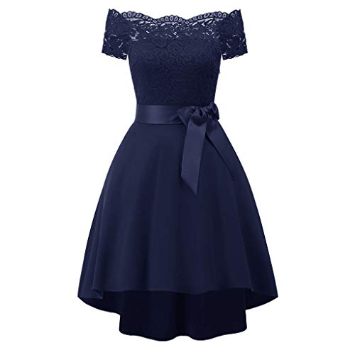 Elegant Spitzenkleid Chiffon Lang Abendkleid Elegant Ball Abschlussballkleid(Blau-1,Large) ()