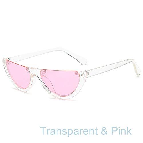 QDE Sonnenbrillen Women Half Frame Women Sonnenbrillen Retro Sunglases Farbe Augenlinsen, F
