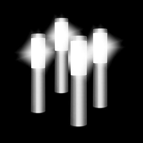 SPV Lights Oscar Solarleuchten - Groß Edelstahl Solarlampen für Außen Aus mit weißen LEDs (4er Set)