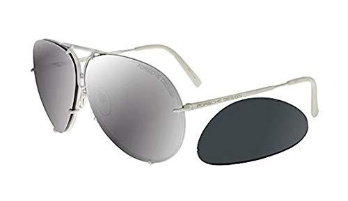 Porsche design - p8478, oversize, titanio, uomo, white/grey blue + mercury lens(p), 66/10/135
