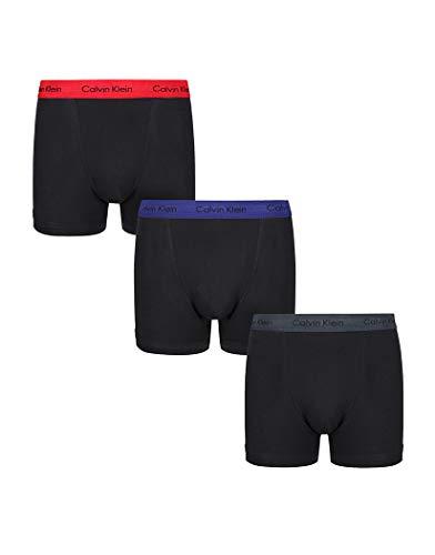 Calvin Klein Herren Boxershorts LOW RISE TRUNK, 3er Pack 0000U2662GSXZ003, Schwarz (B - M Red/S Blue/Charcoal H Wb Sxz), L