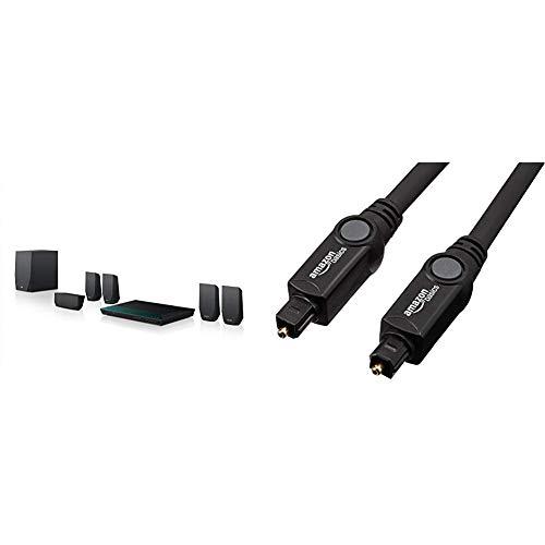 Sony BDV-E2100 5.1 Blu-ray Heimkinosystem (1000 Watt, 3D, W-LAN, Smart TV, Bluetooth, NFC) schwarz & AmazonBasics Toslink Optisches Digital-Audiokabel, 1,83 m (Dvd-surround-sound-system Sony)