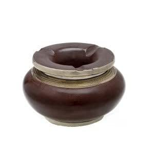 Cendrier marocain tadelakt design chocolat, cendrier fait main incrusté et cerclé de métal poli inoxydable et metal brossé torsadé
