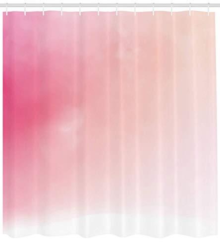 Nyngei Rosa Duschvorhang unscharfen Hintergrund ändernden Farben Ombre inspiriert Komposition verträumte Display Stoff Badezimmer Dekor Set mit Pink Peach (Rosa Duschvorhang Set)