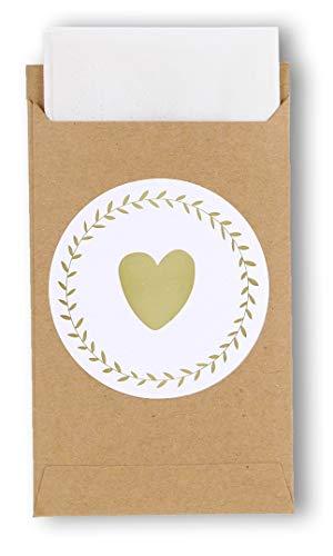 tüten Mit Herz-Sticker, Vintage Kraftpapier Aufkleber Mini Papiertüten Taschentücher Zur Hochzeit Geschenk-Verpackung Schmuck ()