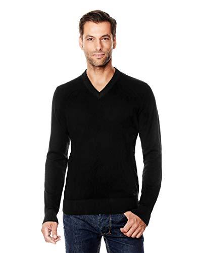Vincenzo Boretti Herren-Pullover V-Ausschnitt Slim-fit tailliert Strick-Pullover V-Neck einfarbig Baumwolle-Mix edel elegant leicht Fein-Strick für Business oder Casual schwarz XXL -