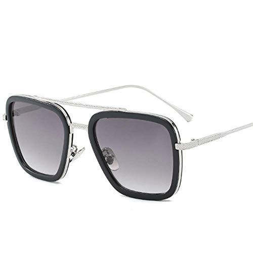 Retro Sonnenbrille Tony Stark Brillen Quadratische Metallrahmen für Männer Frauen Klassiker Sonnenbrille Piloten Gläser,05