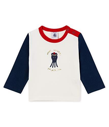 Petit Bateau Baby-Jungen Tee Shirt ML_4738901 Langarmshirt, Mehrfarbig (Marshmallow/Haddock 01), 62 (Herstellergröße: 3M/60cm) -