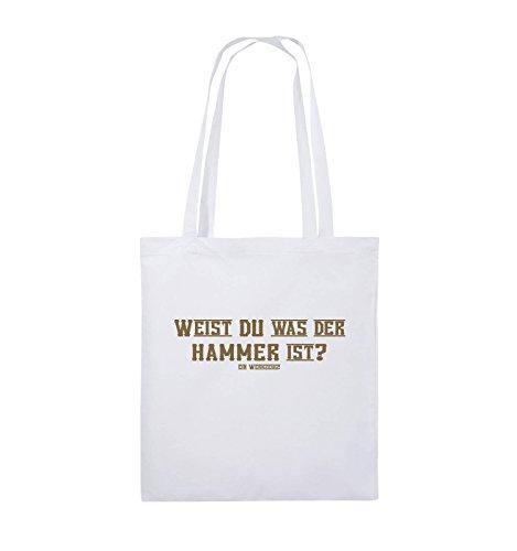 Comedy Bags - WEIST DU WAS DER HAMMER IST? - Jutebeutel - lange Henkel - 38x42cm - Farbe: Schwarz / Pink Weiss / Hellbraun