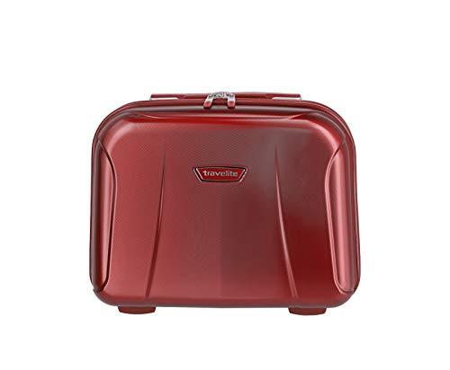 """Travelite Rollkoffer-Set: Klassisch-elegante, robuste Hartschalenkoffer """"Elbe"""" in vielen Größen und Farben Kosmetikkoffer, 19 Liter, Rot"""